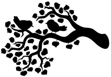 rama: Silueta de la rama con aves - ilustraci�n vectorial.