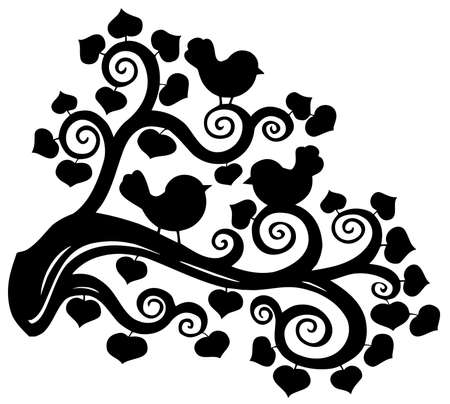 Stylized branch silhouette with birds Vector