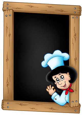 Blackboard with lurking woman chef - color illustration. Stock Illustration - 6579455