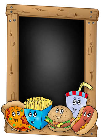 burger and fries: Blackboard with various cartoon meals - color illustration.