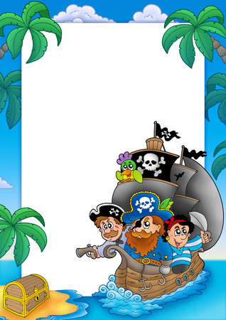male chest: Frame with sailboat and pirates - color illustration.