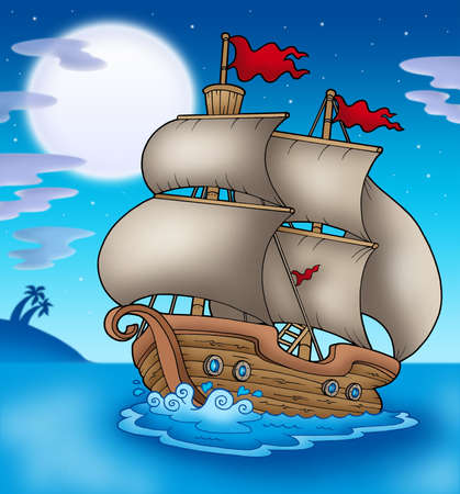 sailer: Old boat sailing sea at night - color illustration. Stock Photo