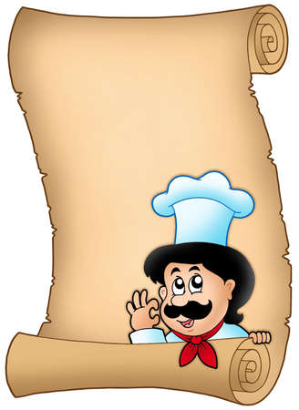 Parchment with lurking cartoon chef - color illustration. illustration