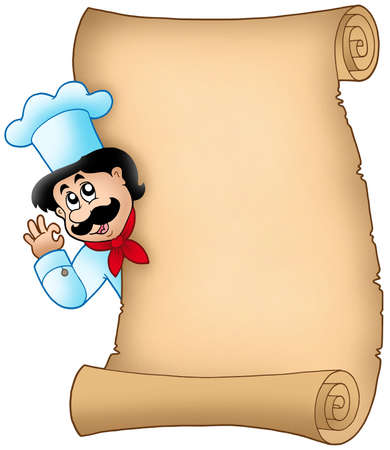 lurking: Parchment with lurking chef - color illustration. Stock Photo