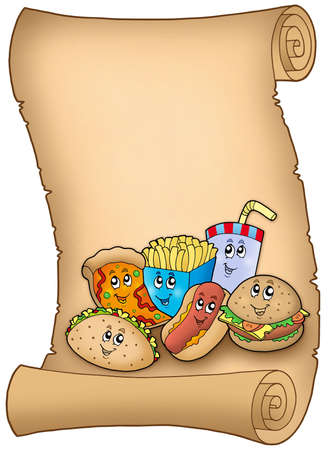 Parchment with various cartoon meals - color illustration. illustration