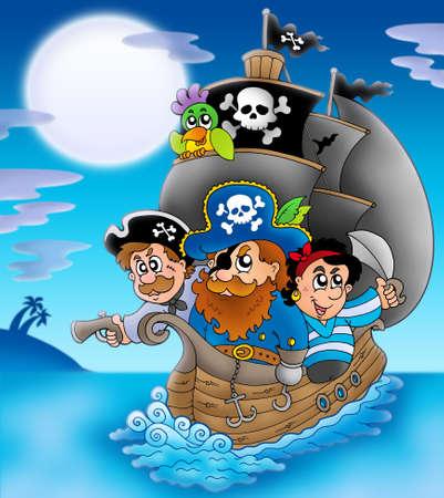 sombrero pirata: Velero con piratas de dibujos animados en la noche - ilustración de color. Foto de archivo