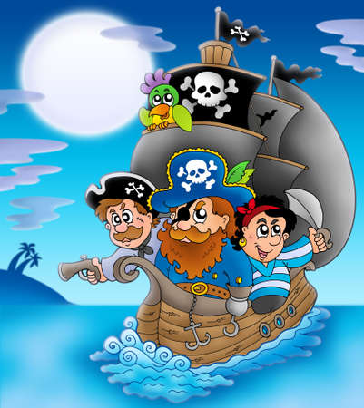 Velero con piratas de dibujos animados en la noche - ilustración de color. Foto de archivo