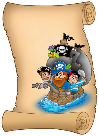 Scroll with sailboat and pirates - color illustration. illustration