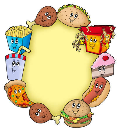 colorful straw: Various cartoon food frame - color illustration. Stock Photo