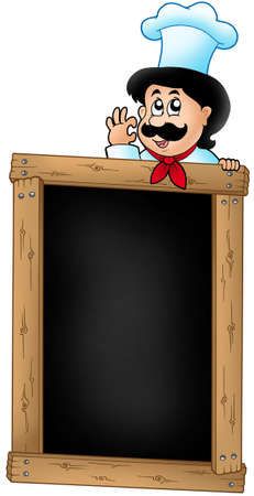 wooden hat: Wooden blackboard with cartoon chef - color illustration. Stock Photo