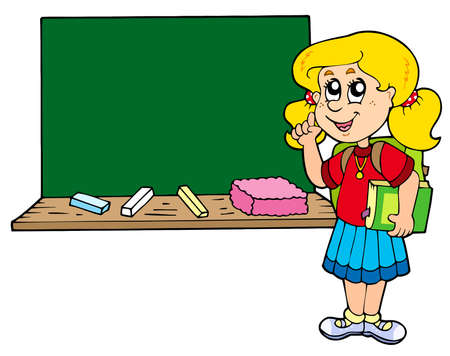 advising: Advising school girl with blackboard