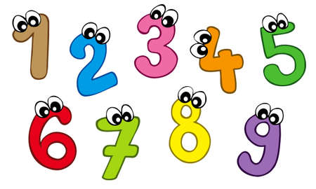 Cartoon numbers on white background