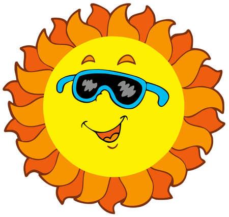 cartoon sun: Caricatura feliz Sun  Vectores
