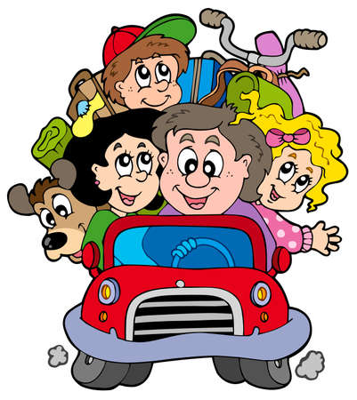 mums: Happy family in car on vacation Illustration