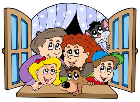 open window: Familia feliz en la ventana abierta