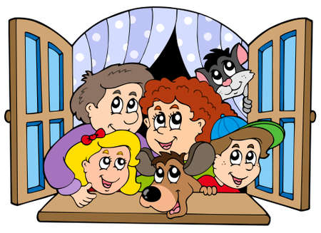open window: Happy family in open window Illustration