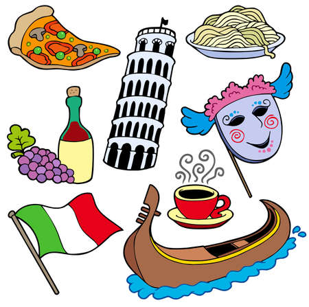 Italian collection on white background