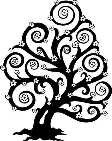 albero stilizzato: Albero stilizzato in bloom silhouette Vettoriali