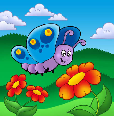 cartoon butterfly: Cute butterfly near red flowers - color illustration. Stock Photo