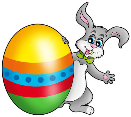 Easter bunny with colorful egg - color illustration. Stock Illustration - 6695749