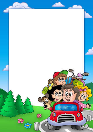 Frame With Family Going On Vacation - Color Illustration. Stock ...