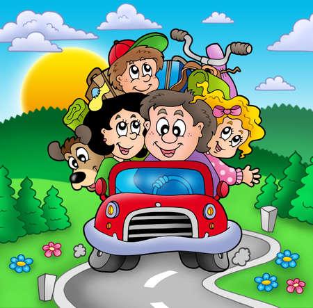 carro caricatura: Familia feliz que se va de vacaciones - ilustraci�n de color.