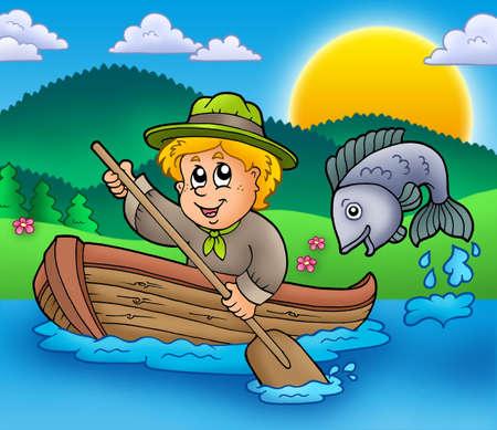 Scout boy in boat - color illustration. illustration