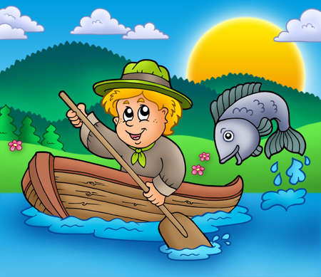 scouts: Scout boy in boat - color illustration. Stock Photo