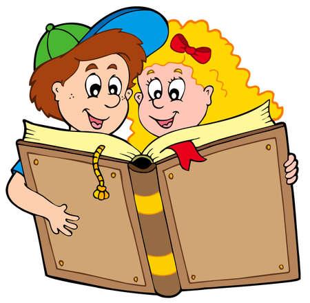 School boy and girl reading book Stock Vector - 6695794