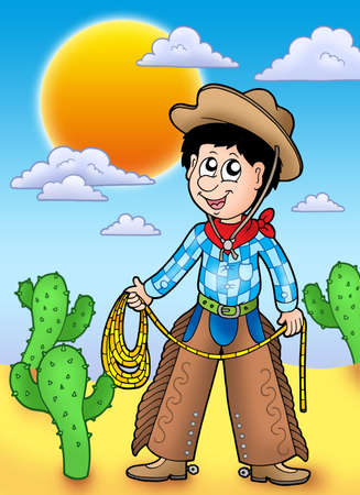 Country boy with sunset - color illustration. Stock Illustration - 6695797
