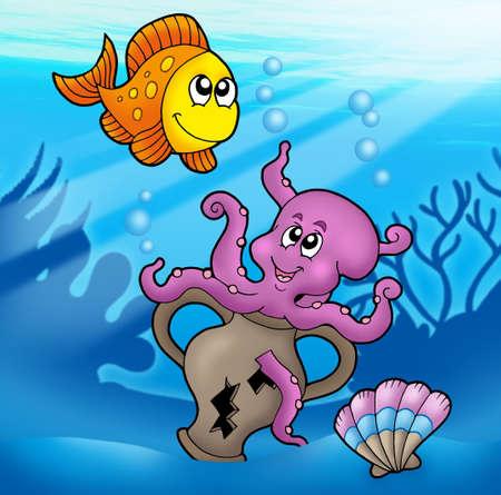 Cute octopus and orange fish - color illustration. Stock Illustration - 6695798