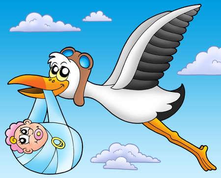 Flying stork with baby - color illustration. illustration