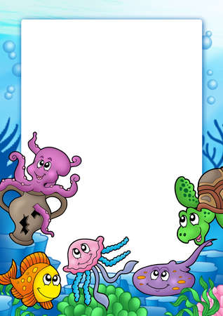 animal eye: Frame with various marine animals - color illustration.
