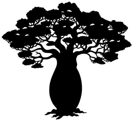 African tree silhouette -  illustration. Stock Vector - 6839751