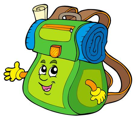 Cartoon backpack on white background -  illustration. Vector