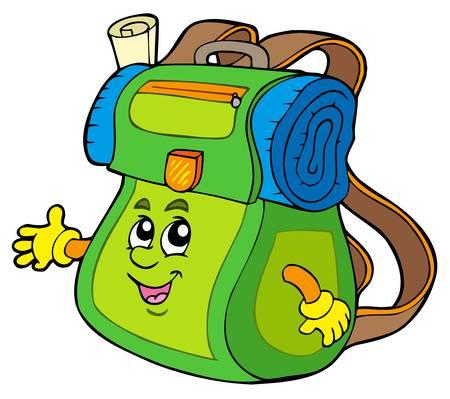 Cartoon backpack on white background -  illustration. Stock Vector - 6839656