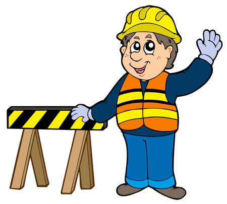 work clothes: Cartoon construction worker -  illustration.