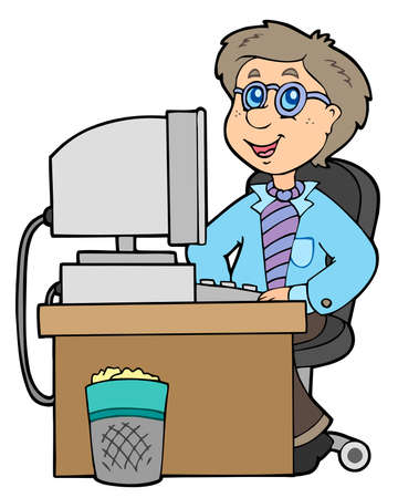 Cartoon office worker - illustration. Vector