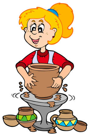 pottery: Cartoon pottery girl - illustration.