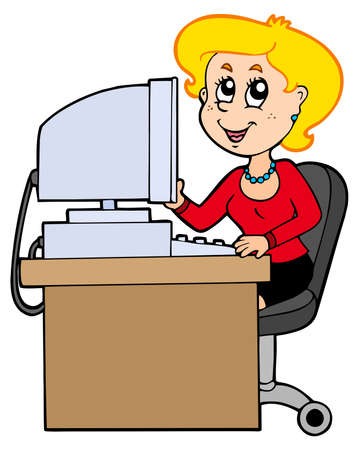 Cartoon secretary on white background - illustration. Illustration