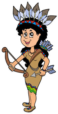 hair feathers: Cute Native American Indian chica - ilustraci�n.