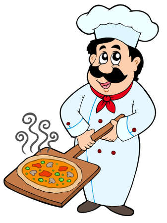 Chef holding pizza plate - illustration. Vector