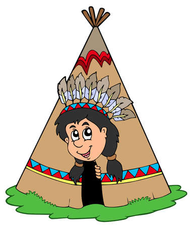Indian in small tepee -  illustration. Vector