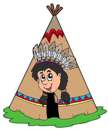 tepee: Indian in small tepee -  illustration.