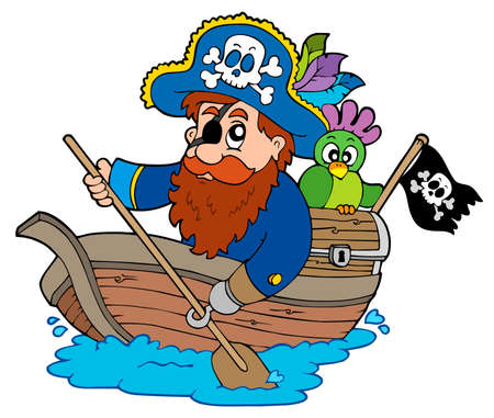 filibuster: Pirata con pappagallo Pagaiando in barca - illustrazione.