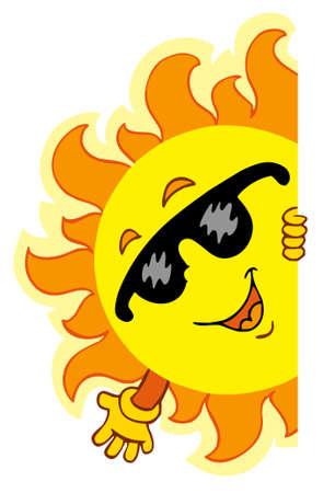 el sol: Agitando Sun - ilustraci�n de dibujos animados.