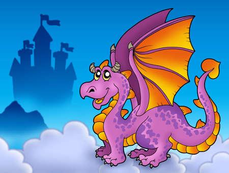 Big purple dragon near castle - color illustration. Stock Illustration - 6839649