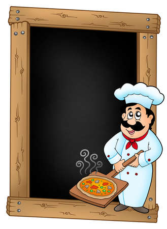 Blackboard with chef and pizza plate - color illustration. illustration