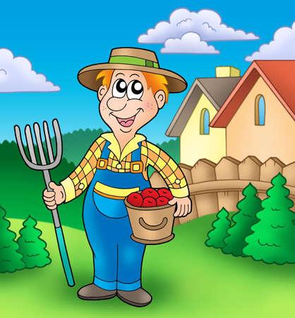 pitchfork: Cartoon farmer on garden - color illustration. Stock Photo