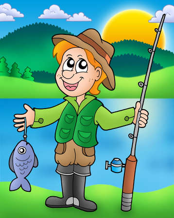 Cartoon fisherman with fish - color illustration.